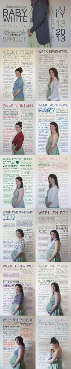 Pregnancy Timeline: I like all the journaling categories she kept. Especially what is best about pregnancy this week. I imagine that would keep all the uncomfortable parts of pregnancy in perspective.