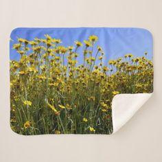 #Yellow Wildflower Field Landscape Sherpa Blanket - #flower gifts floral flowers diy