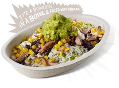 #Chipotle Burrito Bowl with steak, rice, beans, salsa, sour cream, cheese and guacamole with a side of chips BLOWS AWAY your 1200 Total Daily Calories