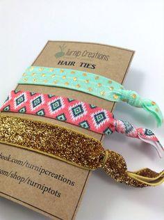 Mint and Coral Hair Ties Aztec Hair Ties Metallic Pattern Print Hair Tie Pony Tail Holder Elastic