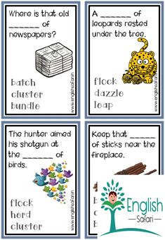 collective noun examples in sentences and charts with pictures for class 2 and class Study collective nouns for people, place, animals and things. Flock Of Crows, Herd Of Elephants, Proper Nouns, Collective Nouns, Pile Of Books, Plural Nouns, Picture Cards, Anchor Charts, Task Cards