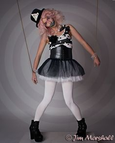 Like a puppet on a string. Clown makeup. Circus themed photoshoot. Photography Jim Marshall, Stephy H modelling. Candyfloss Pink Hair. Afro