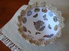 Butterfly bowl crocheted edge bowl papier by ContainedHappiness