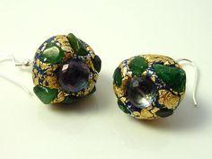 Blue topaz dangle earrings with green aventurine gems -sterling silver earrings- resin earrings- boho inspired romantic ear jewelry