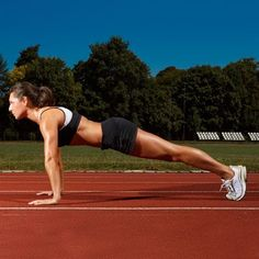 """HEY RUNNERS! This move will make you go much faster: Get into """"up"""" push-up position. Slowly bring your right knee toward your left arm, twisting from your core, then return to the starting position; repeat on the opposite side to complete 1 rep. Do 1–2 sets of 8 reps before every run!"""