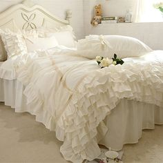 Cheap bedding set, Buy Quality luxury bedding set directly from China ruffle duvet Suppliers: New embroidery luxury bedding set beige lace cake layers ruffle duvet cover quality fabric bed sheet bedspread elegant bed skirt Beige Bedding Sets, Cheap Bedding Sets, Cotton Bedding Sets, Bed Linen Sets, Duvet Bedding Sets, Luxury Bedding Sets, Affordable Bedding, Ruffle Duvet, Lace Bedding