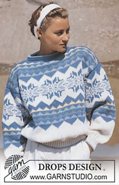 DROPS jumper with star pattern border in Alaska. Free knitting pattern by DROPS Design. Double Knitting Patterns, Knitting Stiches, Jumper Knitting Pattern, Knit Patterns, Free Knitting, Knitting Designs, Drops Design, Alaska, Fair Isle Pattern