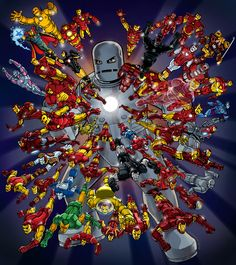 Iron Man's is fast approaching. Here's a suit for each year of publication. Have fun figuring out what each of them does and where they appeared! 50 For 50 - Iron Man Marvel Vs Dc Comics, Marvel Art, Marvel Heroes, Comic Book Characters, Marvel Characters, Comic Books Art, Comic Art, Iron Man Wallpaper, Marvel Wallpaper