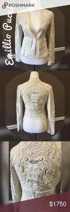 ❣️ RARE❣️ Emilio Pucci Embellished Matador Jacket Authentic! Handmade. I bought this for my wedding and decided not to wear it. Made in Italy. The beautiful design of this jacket is unreal and breathtaking. Very detailed. Hate to part with it but it's just hanging in my closet. Its missing one little button on the sleeve but that can easily be fixed. This is definitely fit for a queen. Was used in Vanity Fair runway show, so this is one of a kind. TV$2500 Size 40 Italian is basically a size…