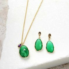 Green African Amethyst Gold Plated Stacking Necklace  #BlingJewelry