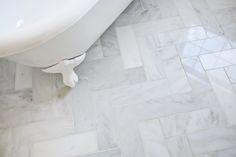 ideas bathroom marble tile floor master bath for 2019 Carrara, Marble Tile Bathroom, Bathroom Floor Tiles, Light Bathroom, Shower Floor, Herringbone Tile Floors, Penny Flooring, Dark Flooring, Garage Flooring