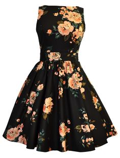 Black  Pink Rose Print Tea Dress || I would like to wear this dress. I would also like to be Audrey Hepburn.