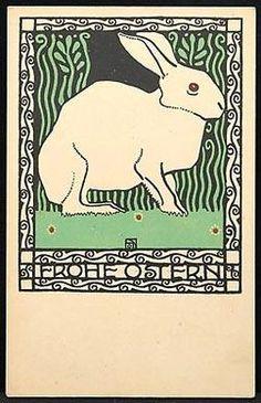 """Wiener Werkstätte, Josef Diveky, """"Frohe Ostern"""" #rabbit"""