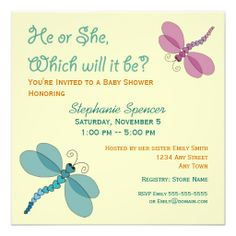 Dragonfly baby shower invitations in pink green pink babies and dragonflies baby shower invitation filmwisefo Images