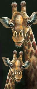2 Giraffes Painted Canvas by Jillybean Fitzhenry
