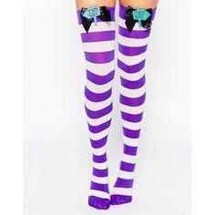 Leg Avenue Mad Hatter Bow Top Thigh Highs ($17) ❤ liked on Polyvore featuring intimates, hosiery, socks, purplewhite, leg avenue, purple striped socks, stripe thigh high socks, bow socks and leg avenue hosiery