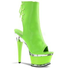 #Neon #Green #Ankle #Boot Detailed Heel + Platform, Open Toe/Back