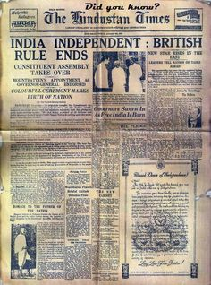 Rare photograph of  Hindustan Times  Newspaper when India  got its Independence  from Britishers..!!