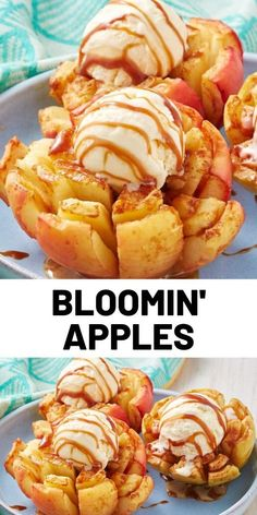 Best Bloomin' Apples Recipe We took inspo from the ever popular bloomin' onion and made a just as fun dessert. Though these finished bloomin' apples look insane, they're actually quite easy to make. Köstliche Desserts, Delicious Desserts, Dessert Recipes, Yummy Food, Bloomin Apple Recipe, Baking Recipes, Cookie Recipes, Apple Recipes Easy, Fruit Dishes