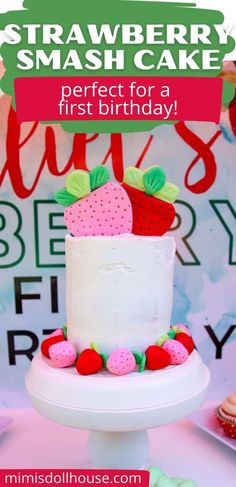 How to make a delicious strawberry cake or strawberry cupcakes Making an adorable and super scrumptious strawberry cake is easy with this strawberry cake recipe. Whether you are making cupcakes, a layer cake or a first birthday smash cake...you will love the taste of this strawberry cake! #berryfirstbirthday #strawberrydessert #baking #dessertrecipe #cakerecipe #strawberrycupcakerecipe #bestcake Birthday Party Treats, 1st Birthday Party For Girls, 1st Birthday Party Decorations, Birthday Parties, Making Cupcakes, How To Make Cupcakes, Strawberry Cupcake Recipes, Strawberry Shortcake Party, White Cake Mixes