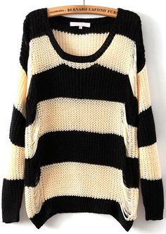 Black Apricot Long Sleeve Striped Hollow Sweater 23.33