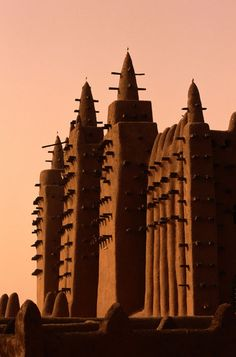 Grande Mosque in Djenne, Mali.  The mosque is made in the traditional architectural style of Mali.