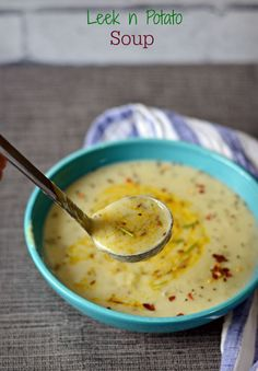 Potato Leek Soup- The original recipe from Julia child only called for 5 ingrdnts. I have added a dash of cumin spiced oil on top to bring more flavours into the Vegan soup. So easy recipe, and costs nothing.