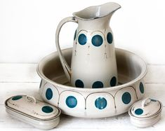 AMAZING antique Art Deco french ENAMEL WASH Set by RueDesLouves,