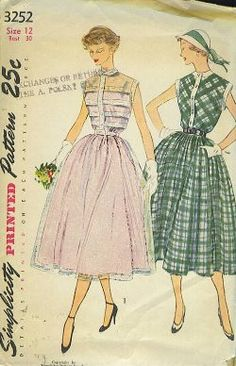 The 1950s were ushered in by Christian Dior's New Look -- a nipped waist/full skirt combination that turned post World War II fashion on its ear.  Circle skirts were all the rage, the further you went into the 50s, but sleek sheaths became more popular in the latter part of the decade.  Designer patterns like Ceil Chapman, Fontana, Biki, Tom Brigance, Suzi Perette and even Adrian became very popular.