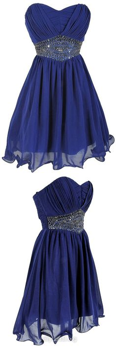 Wholesale Empire Prom Dresses,Sweetheart Chiffon Short Formal Cocktail Party Dresses,Beading Royal Blue Homecoming Dresses