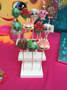 Super cute cake pops at a Shopkins birthday party! See more party ideas at CatchMyParty.com!