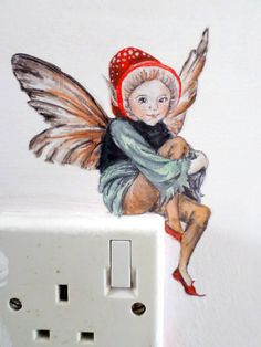 Fairy wall decal sticker // faerie painting by SmockBallpoint