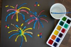 fourth of july salt art painting - little passports Fireworks Pictures, Fireworks Art, Glue Crafts, Easy Crafts, Crafts For Kids, Salt Painting, Painting For Kids, Glue Painting, Bonfire Night Crafts