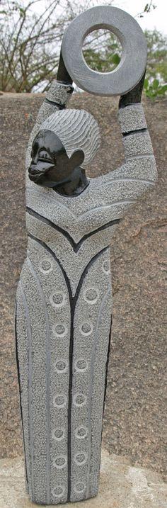 shona stone sculptures of zimbabwe | Shona stone sculpture Tambourine Player by African artist Boet Nyariri ...