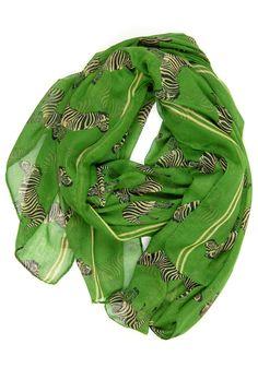 GREEN! Zebras! Scarf! <3