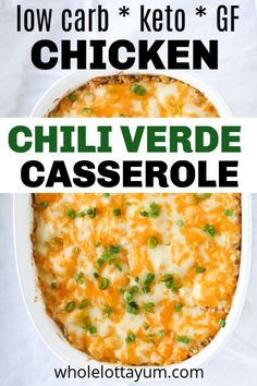 Easy Chicken Green Chili Casserole An easy keto casserole that's chicken green chili. This will become a weeknight and family favorite when you need a simple easy low carb and keto dinner. The chicken keto casserole is also gluten free and sugar free too. Green Chili Casserole, Keto Chicken Casserole, Riced Cauliflower Casserole, Easy Dinner Casserole, Gluten Free Casserole, Low Carb Chicken Soup, Cowboy Casserole, Buffalo Chicken Casserole, Breakfast Casserole
