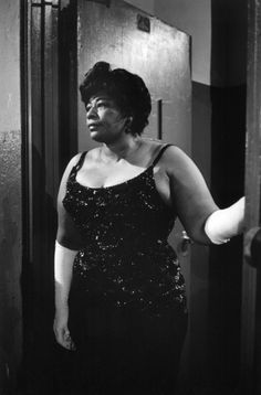 """The regal Ella Fitzgerald, backstage before singing at a """"Birthday Salute"""" in honor of JFK at Madison Square Garden, New York, May 19, 1962."""