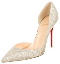 christian louboutin gold-tone peep-toe pumps w tags