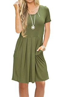 699aac723445 AUSELILY Women s Short Sleeve Pleated Loose Swing Casual Dress with Pockets  Knee Length Dress Shirts For