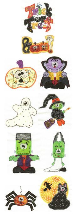 Embroidery | Free Machine Embroidery Designs | Treats n Tricks Halloween Applique