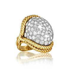 Verdura Dome Ring 18k gold and platinum rope mounting set with 80 pave-set round diamonds weighing approximately 5.60 carats.