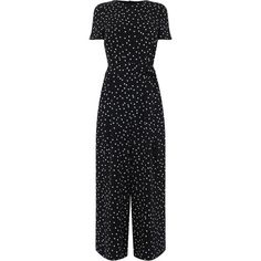 POLKA DOT PRINT JUMPSUIT (360 RON) ❤ liked on Polyvore featuring jumpsuits, polka dot jumpsuits and jump suit