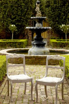 Lovely Chairs Finished In Paloma Chalk Paint® Decorative Paint By Annie  Sloan Set Against The Beautiful Backdrop Of A New Orleans Interior  Courtyard.