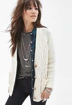 Cable Knit Cardigan and flannel and tee and necklaces -- layering.