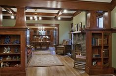 Craftsman styling is warm and cozy with lots of natural elements and built-in book shelves. Pinterest