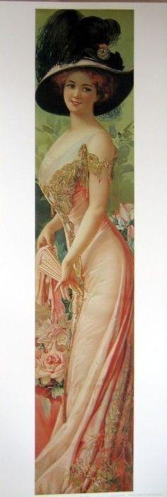 Art Print Society Lady Tall Victorian Woman Black Hat Vtg Repro Yardlong 12x35 | eBay