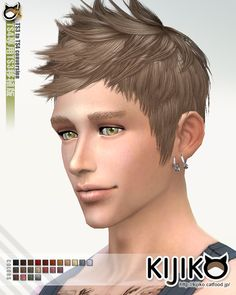Kijiko Sims's Retexture / Edit Faux hawk hairstyle conversion from TS3 to TS4 Short hairstyles for Males ~ Sims 4 Hairs
