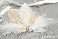 Tocado de plumas para novia Tocado nupcial Tocado por ByChicPetals