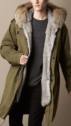 Showerproof Parka with Fur-Lined Warmer, An oversize parka crafted from showerproof resin-backed technical cotton.