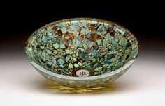 "Cosmic Burst glass sink with blues, greens, amber and copper colored glass fused into a 1"" thick bowl from Alchemy Glass & Light"